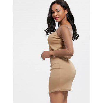 Mesh Insert Mini Long Sleeve Club Dress - KHAKI XL