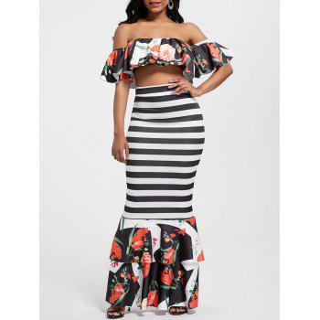 Floral Ruffle Crop Top and Mermaid Skirt - STRIPE STRIPE