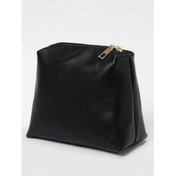 Metal Handle Drawstring Tote Bag - BLACK/GREY