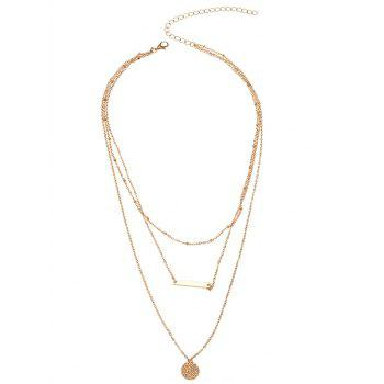 Round Bar Layered Charm Necklace