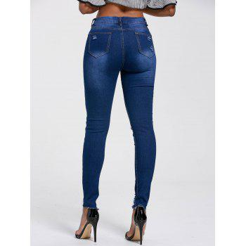 Ripped Skinny High Rise Jeans - DEEP BLUE 2XL