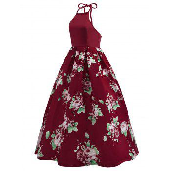 Vintage Back Cutout Halter Floral Dress - RED M
