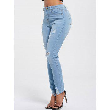 Ripped Skinny High Rise Jeans - LIGHT BLUE L