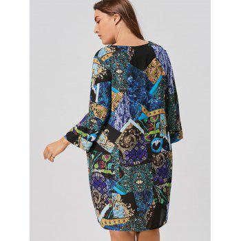 Tribal Printed Plus Size Asymmetric Dress - BLUE XL