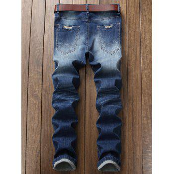 Straight Leg Patch Design Ripped Jeans - BLUE 42