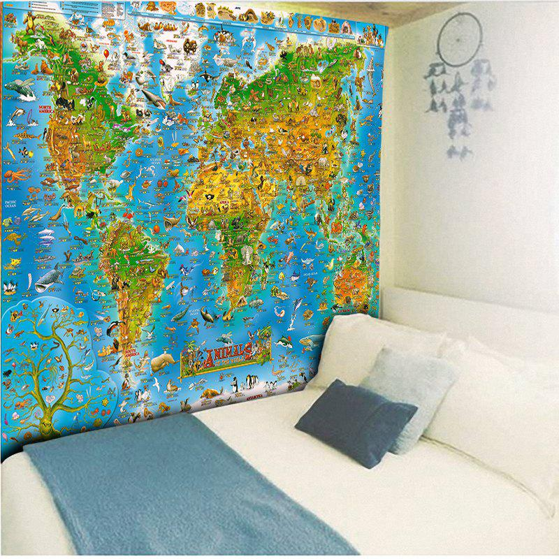 2018 tapisserie murale motif carte du monde et animaux. Black Bedroom Furniture Sets. Home Design Ideas