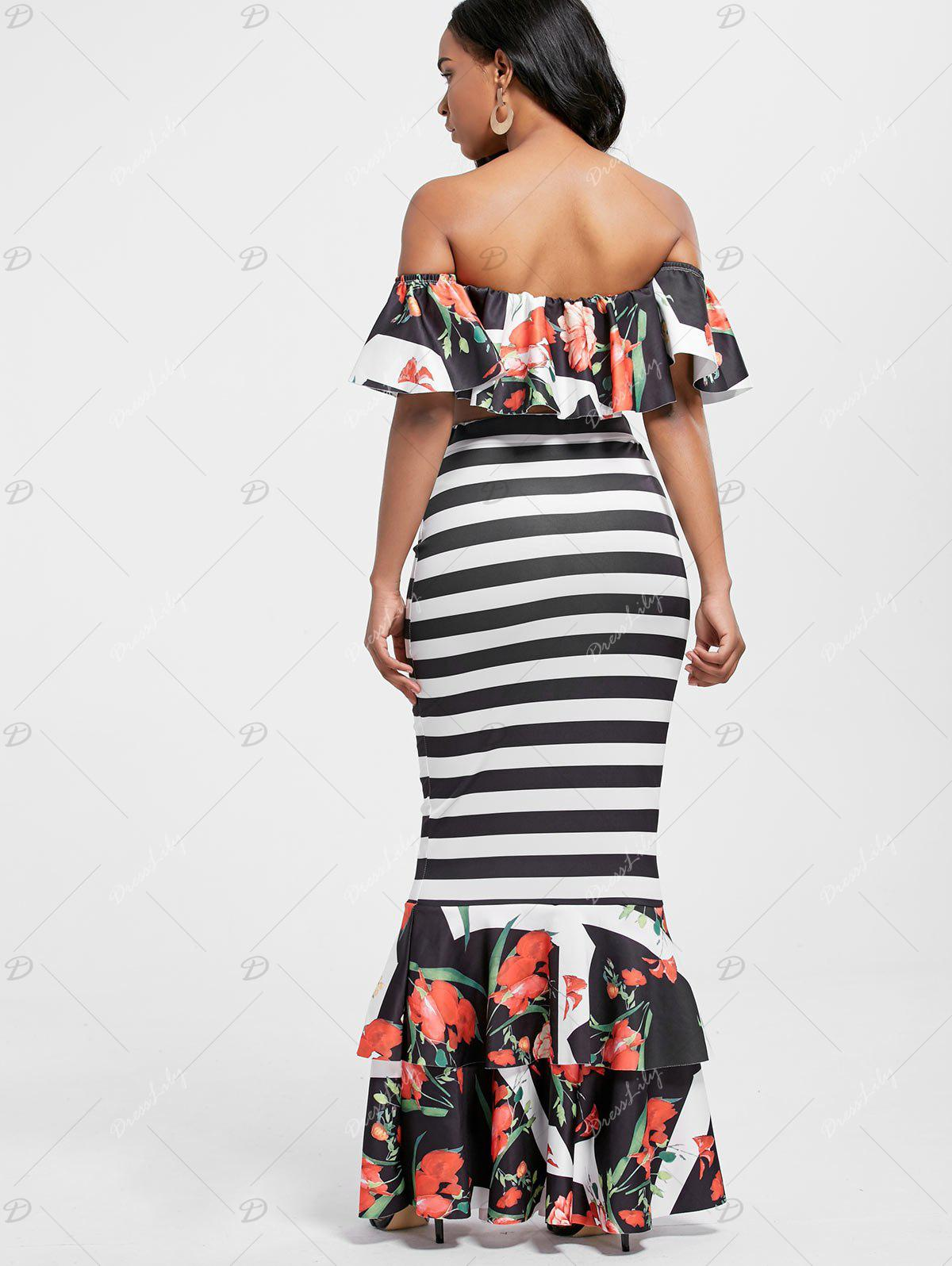 Floral Ruffle Crop Top and Mermaid Skirt - STRIPE S