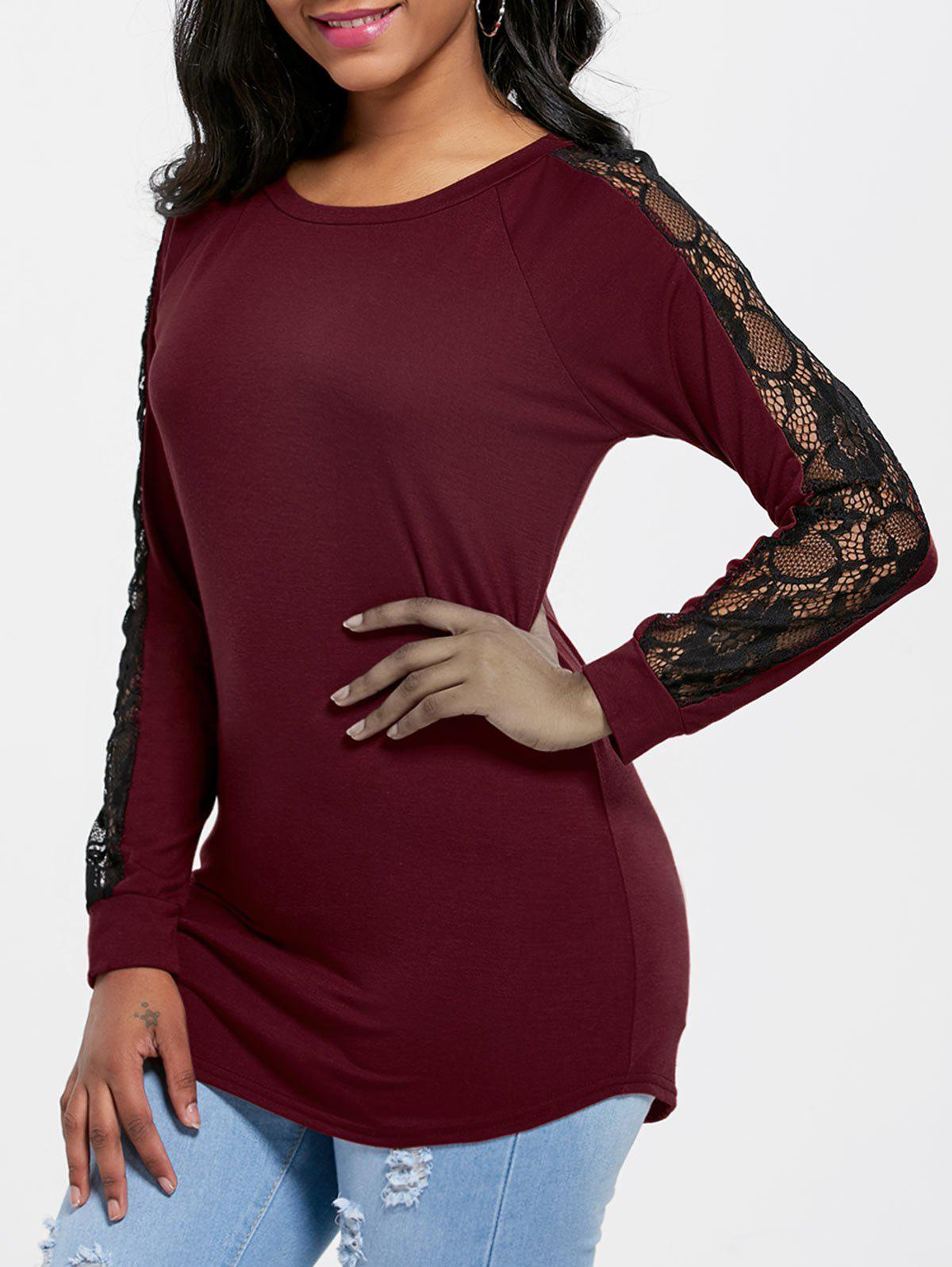 Lace Insert Raglan Sleeve Tunic T-shirt - WINE RED M
