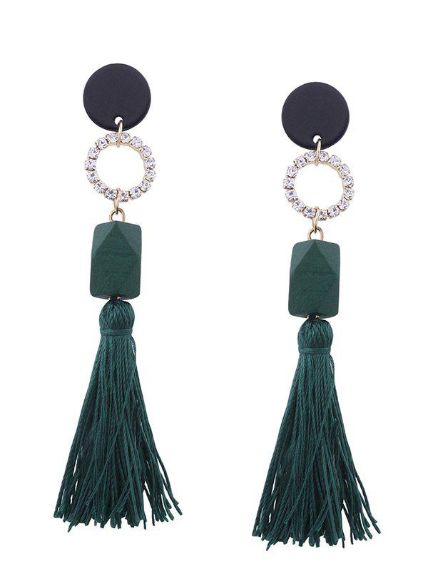 Tassel Pendant Faux Gem Embellished Long Earrings - GREEN