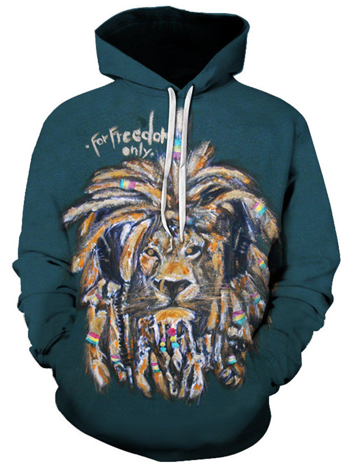 3D Graphic Lion Print Pullover Hoodie - BLACKISH GREEN 3XL