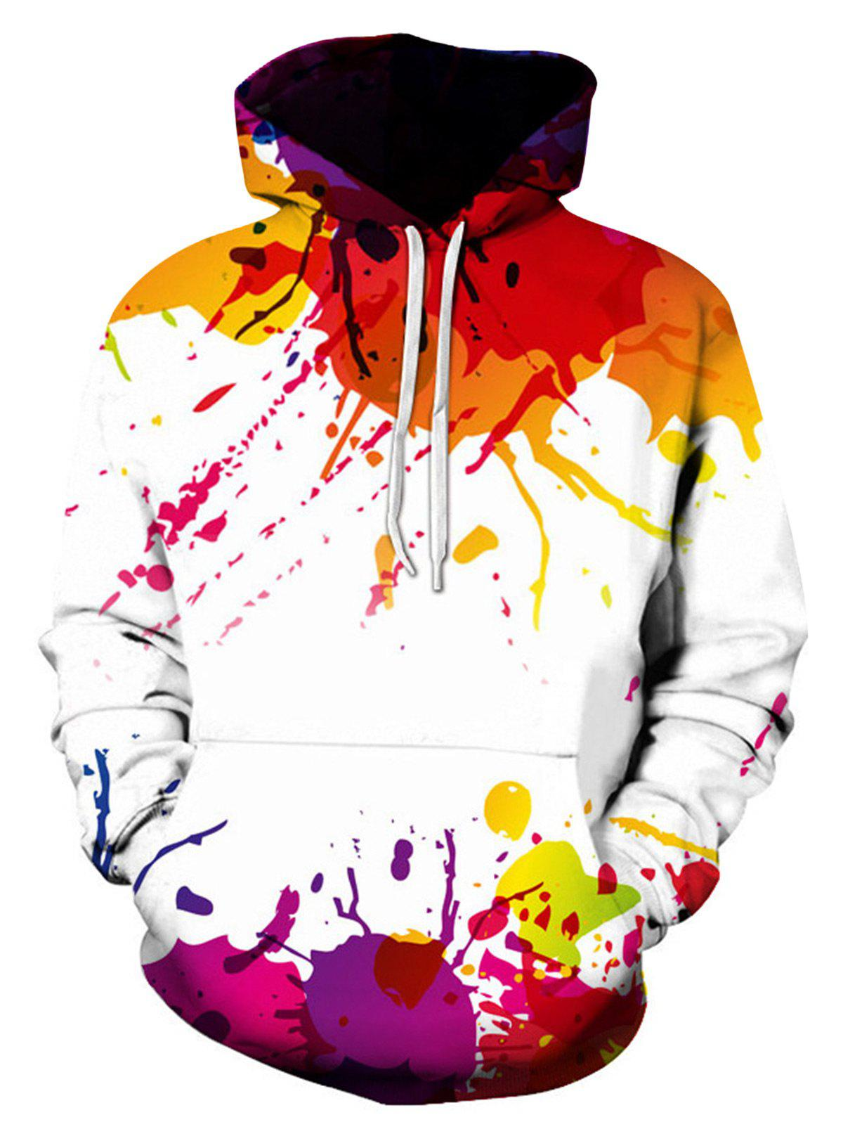 Colorful Splatter Paint Print Pullover Hoodie - COLORMIX XL