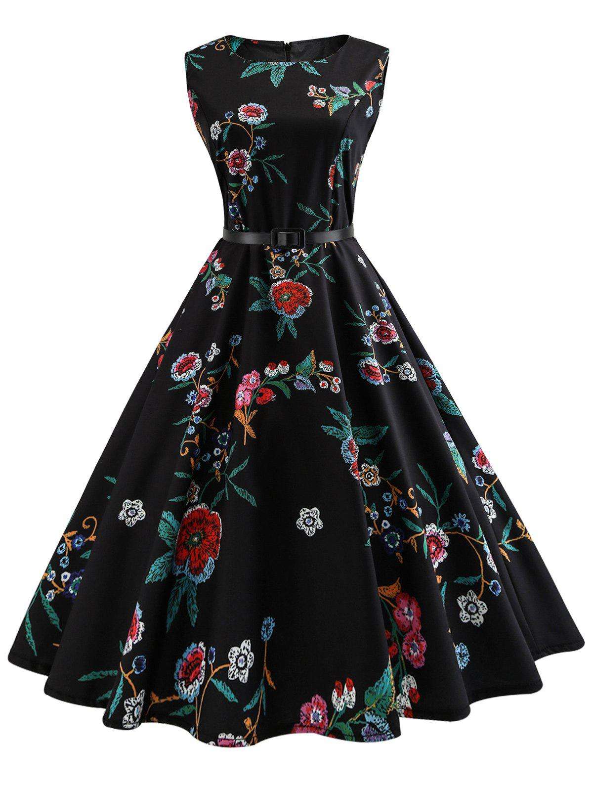 Vintage Flower Print Sleeveless A Line Dress - BLACK S