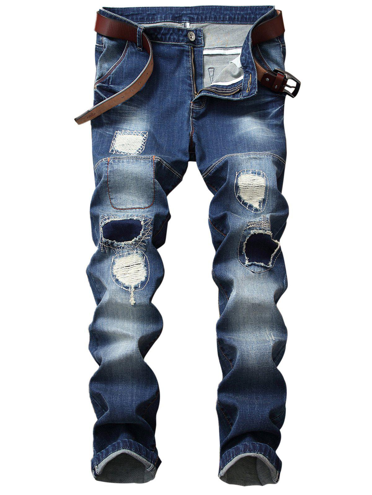 Straight Leg Patch Design Ripped Jeans patch design skinny ripped jeans with pockets