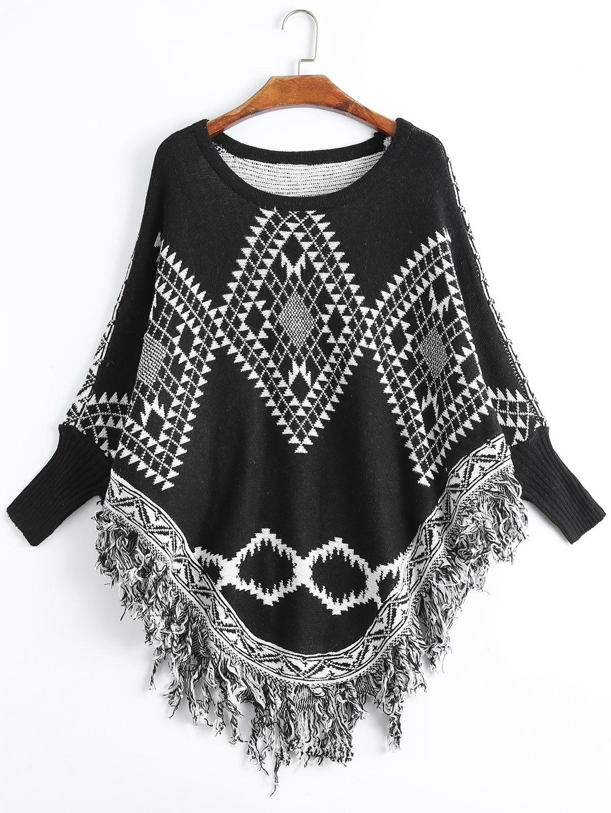 Fringed Geometric Plus Size Poncho Sweater, Black