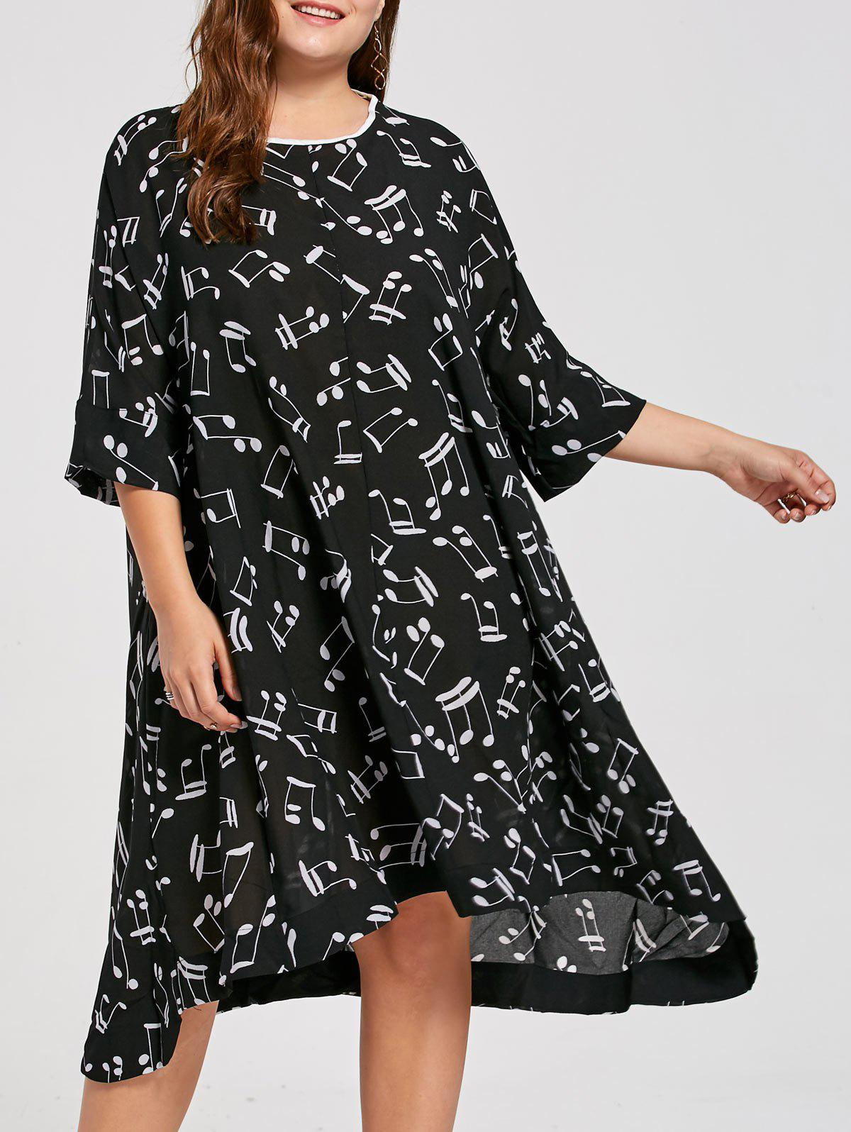 Plus Size Music Note Printed Midi Dress - BLACK ONE SIZE