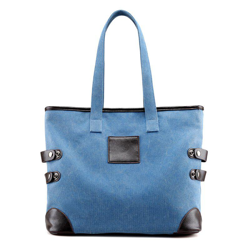 Canvas Button Casual Shoulder Bag - BLUE