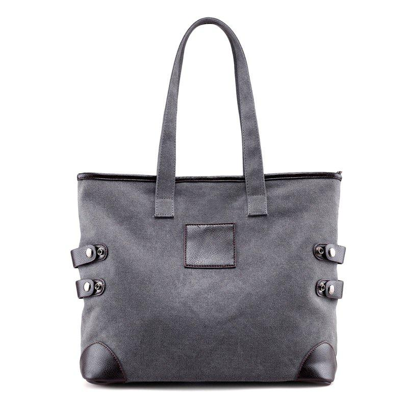 Canvas Button Casual Shoulder Bag - GRAY