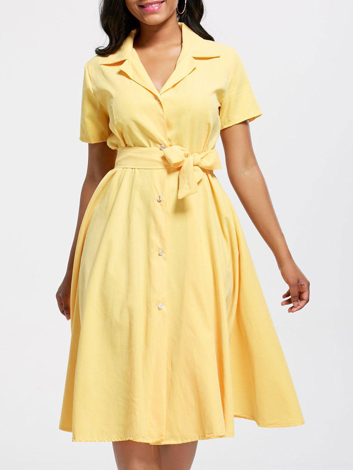 Short Sleeve Button Up Maxi Shirt Dress - YELLOW XL