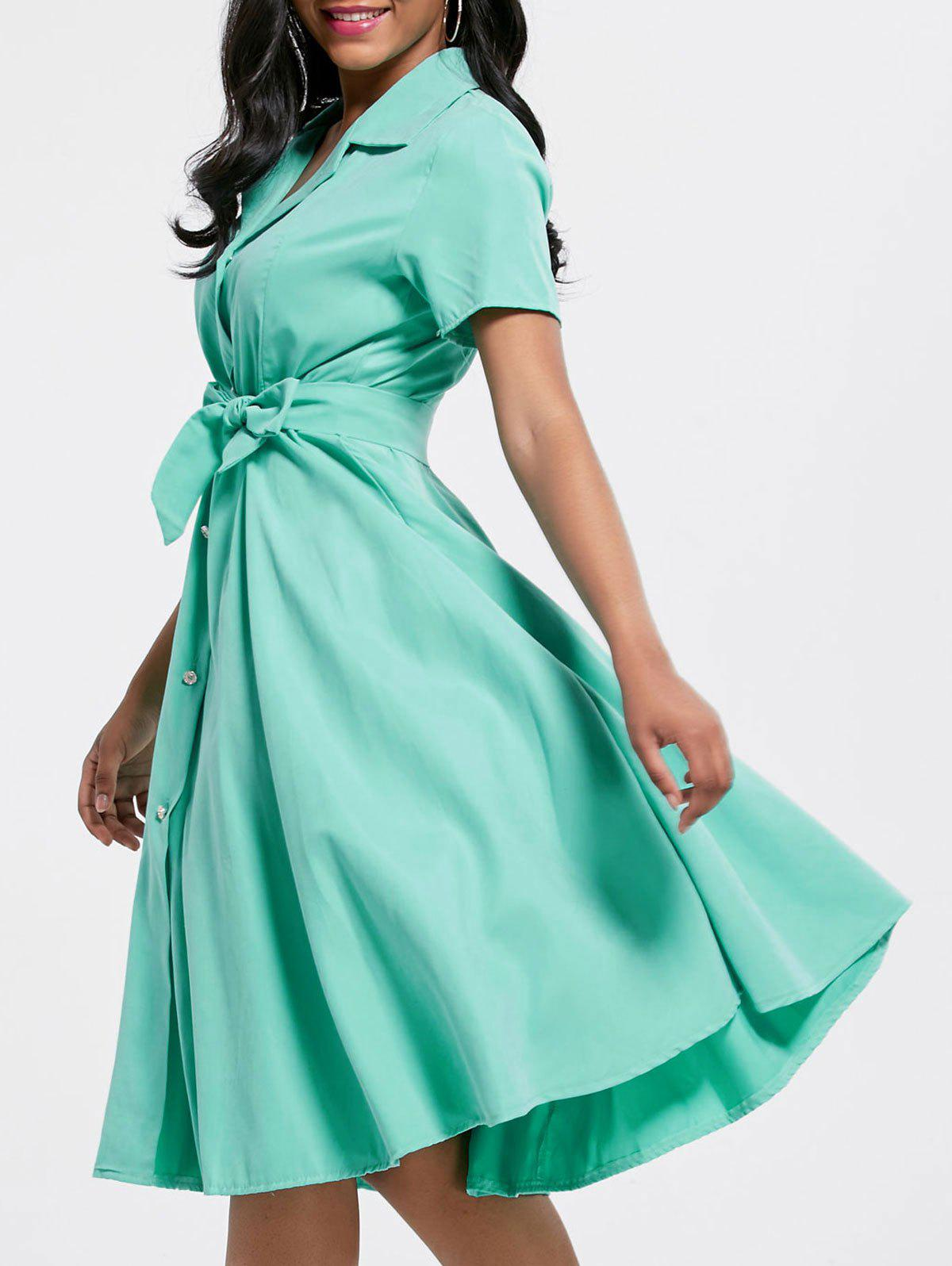 Short Sleeve Button Up Maxi Shirt Dress - GREEN L