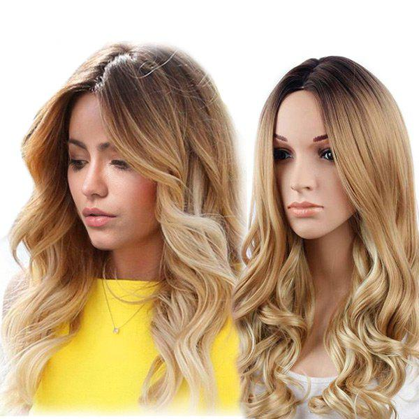 Long Middle Part Wavy Colormix Synthetic Wig