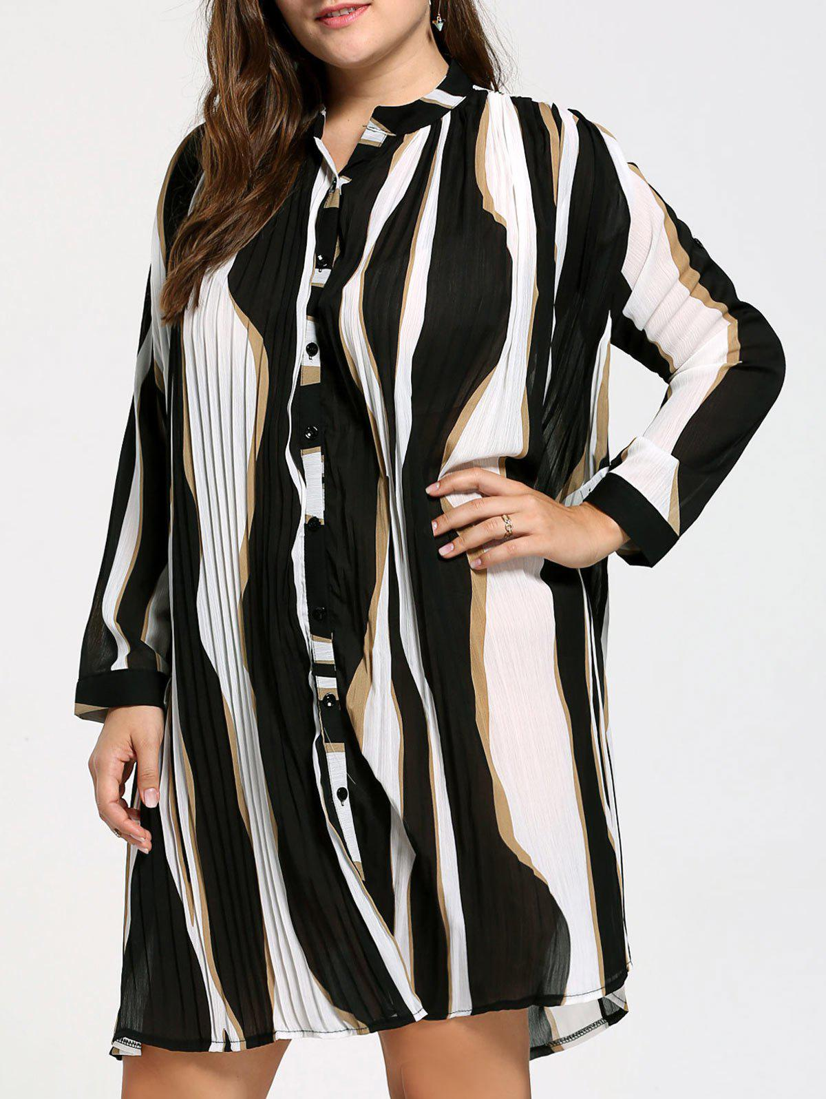 Plus Size Chiffon Button Up Striped Shirt Dress - BLACK ONE SIZE