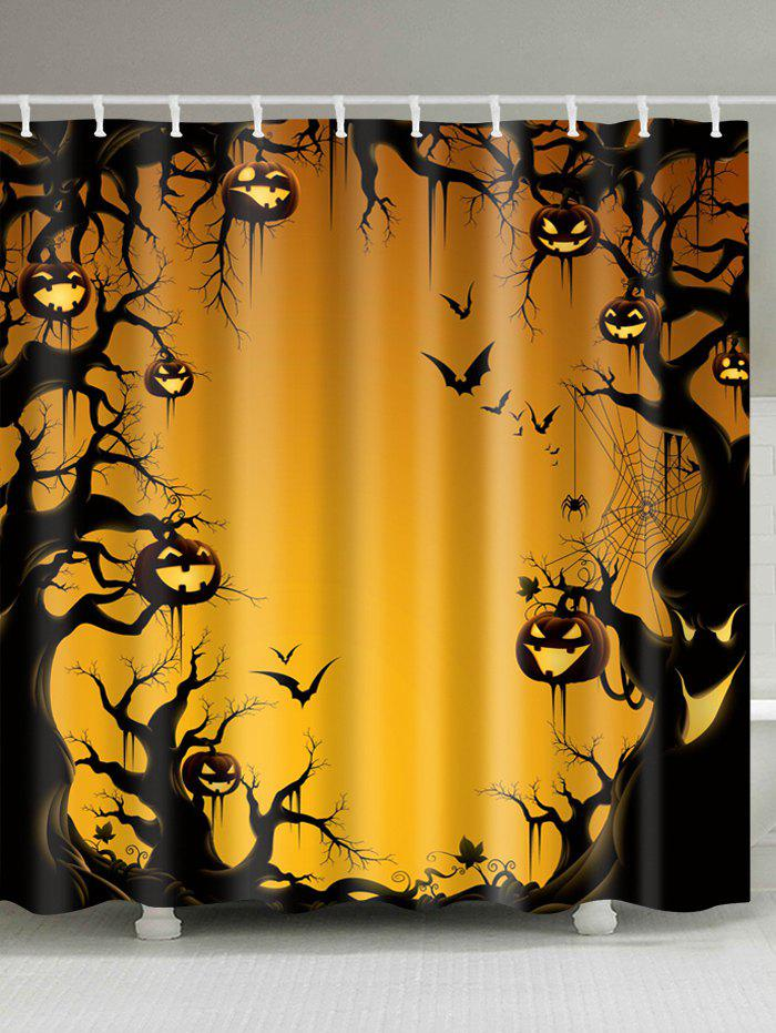 Halloween Trees Pumpkin Print Waterproof Bathroom Shower Curtain - PEARL KUMQUAT W59 INCH * L71 INCH