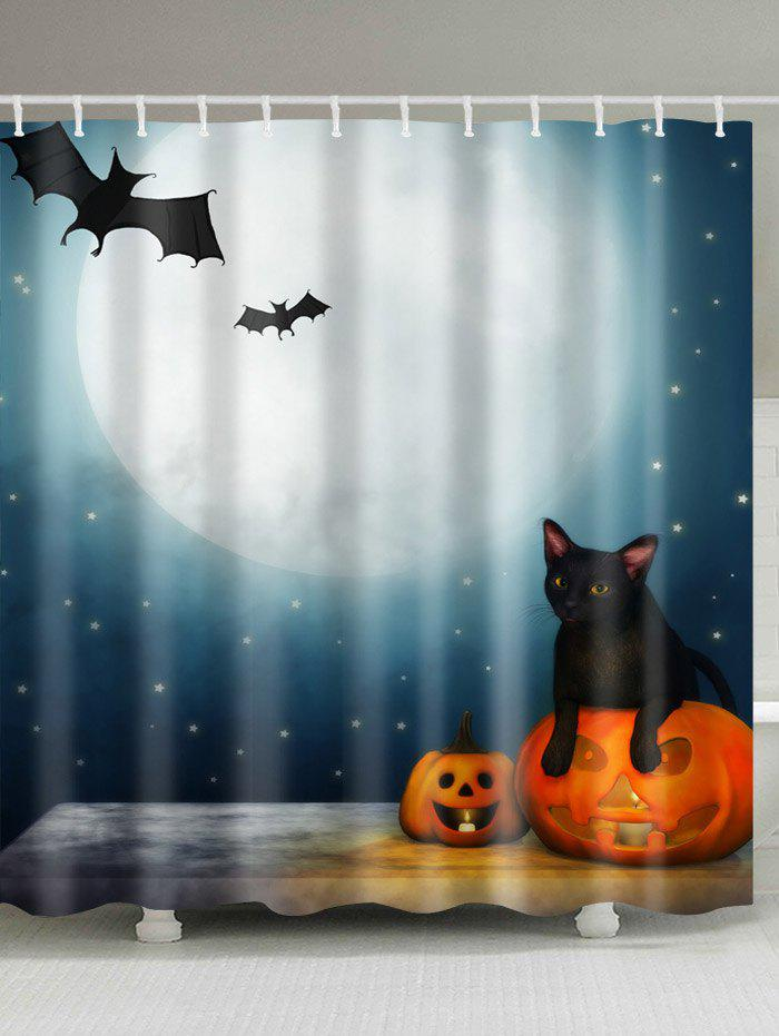 Halloween Moon Night Print Waterproof Bathroom Shower Curtain - COLORMIX W71 INCH * L79 INCH
