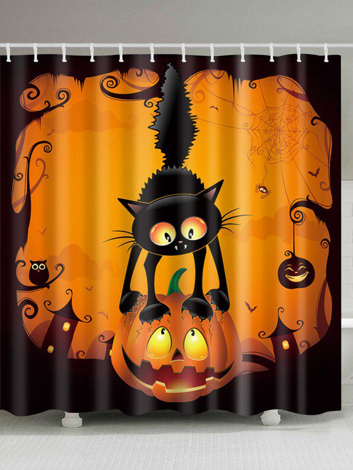 Halloween Pumpkin Cat Print Waterproof Bathroom Shower Curtain 3d shiny pumpkin print halloween waterproof shower curtain