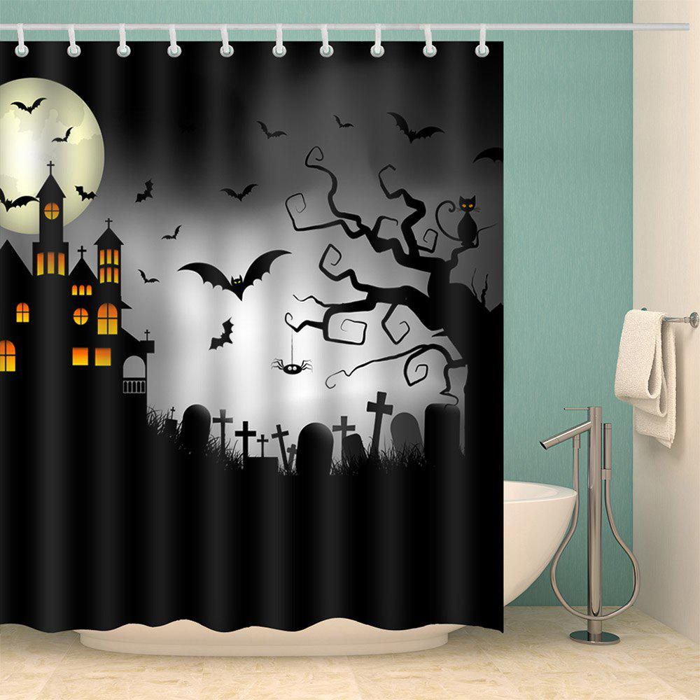 2018 Halloween Castle Cemetery Print Waterproof Bathroom
