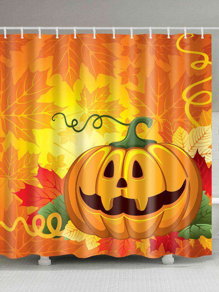Halloween Pumpkin Leaf Print Waterproof Bathroom Shower Curtain 3d shiny pumpkin print halloween waterproof shower curtain