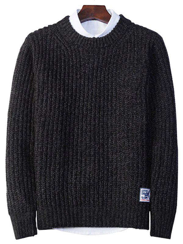 Crew Neck Pullover Tweed Sweater - BLACK 2XL