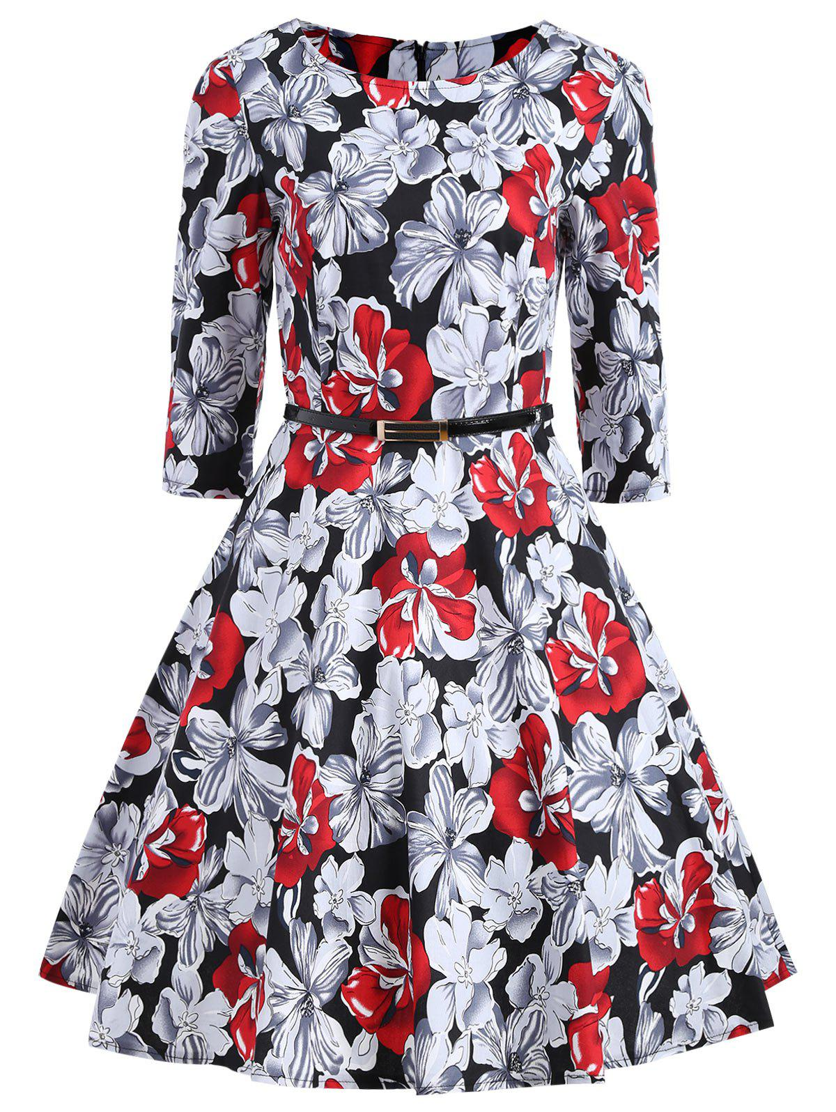 Vintage Floral Print Party A Line Dress женское платье a line slim dresses girls ladies shealth dress для live show party dancing