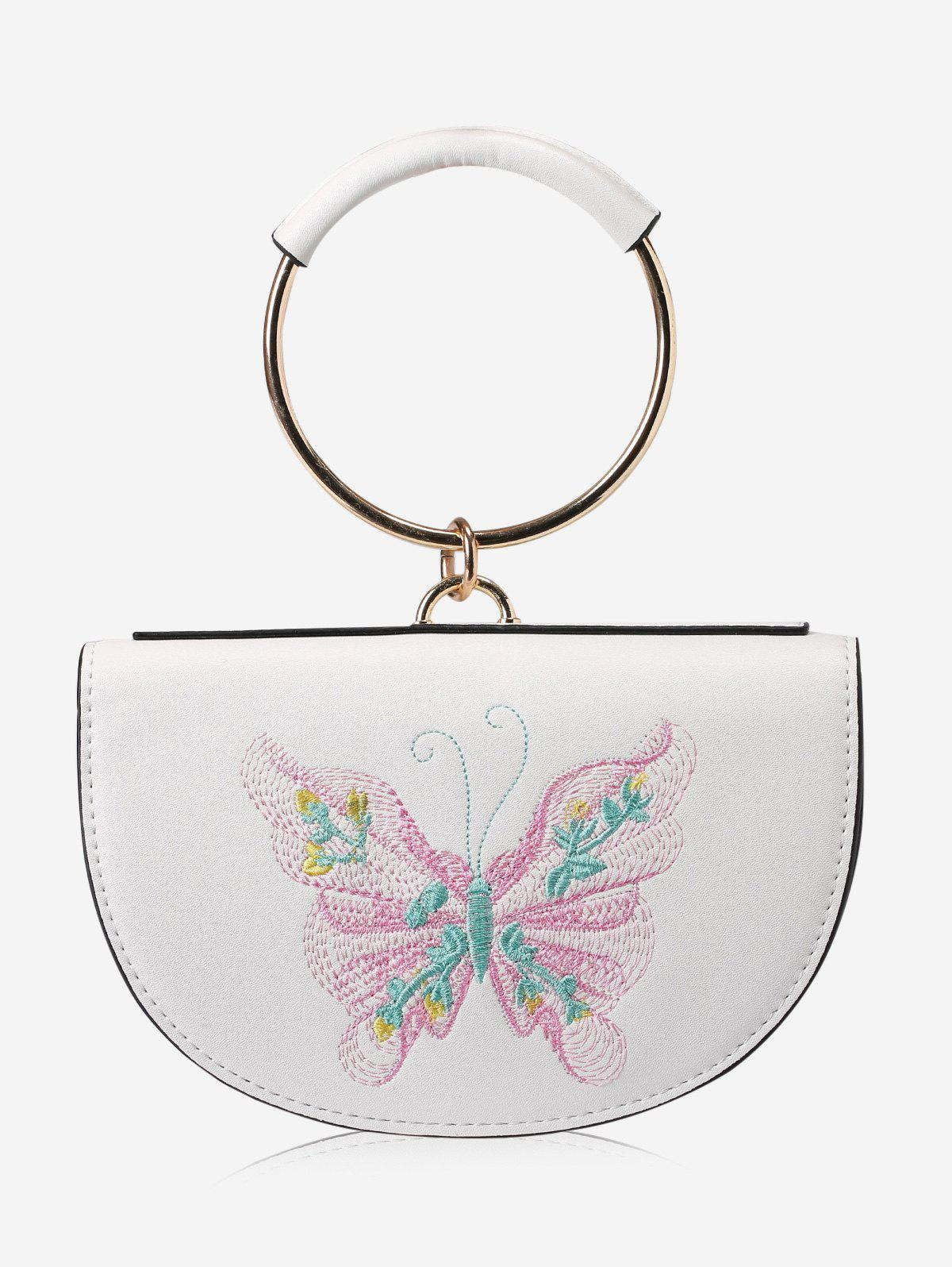Metal Ring Faux Leather Embroidery Tote Bag - PINK/WHITE