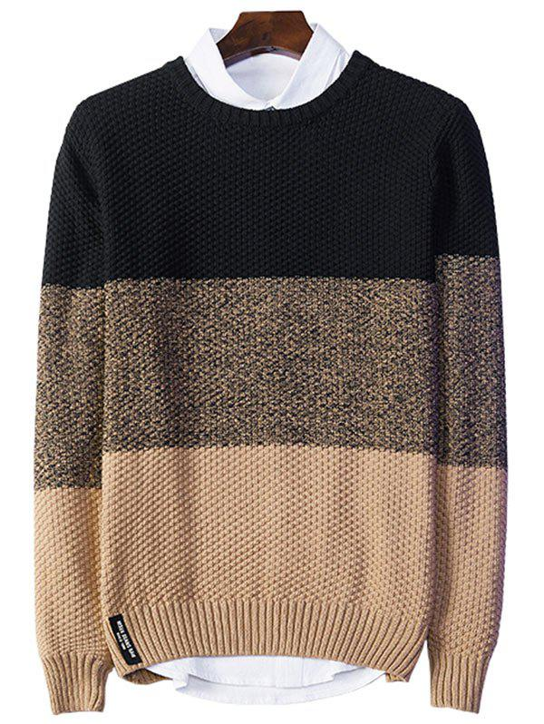 Popcorn Knitted Crew Neck Color Block Sweater crew neck color block cable knitted pullover sweater