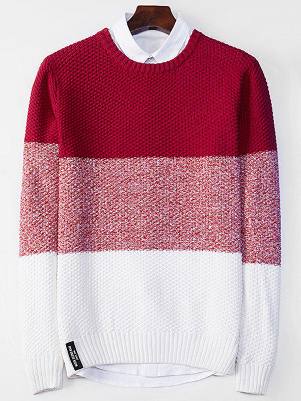 Popcorn Knitted Crew Neck Color Block Sweater - RED L