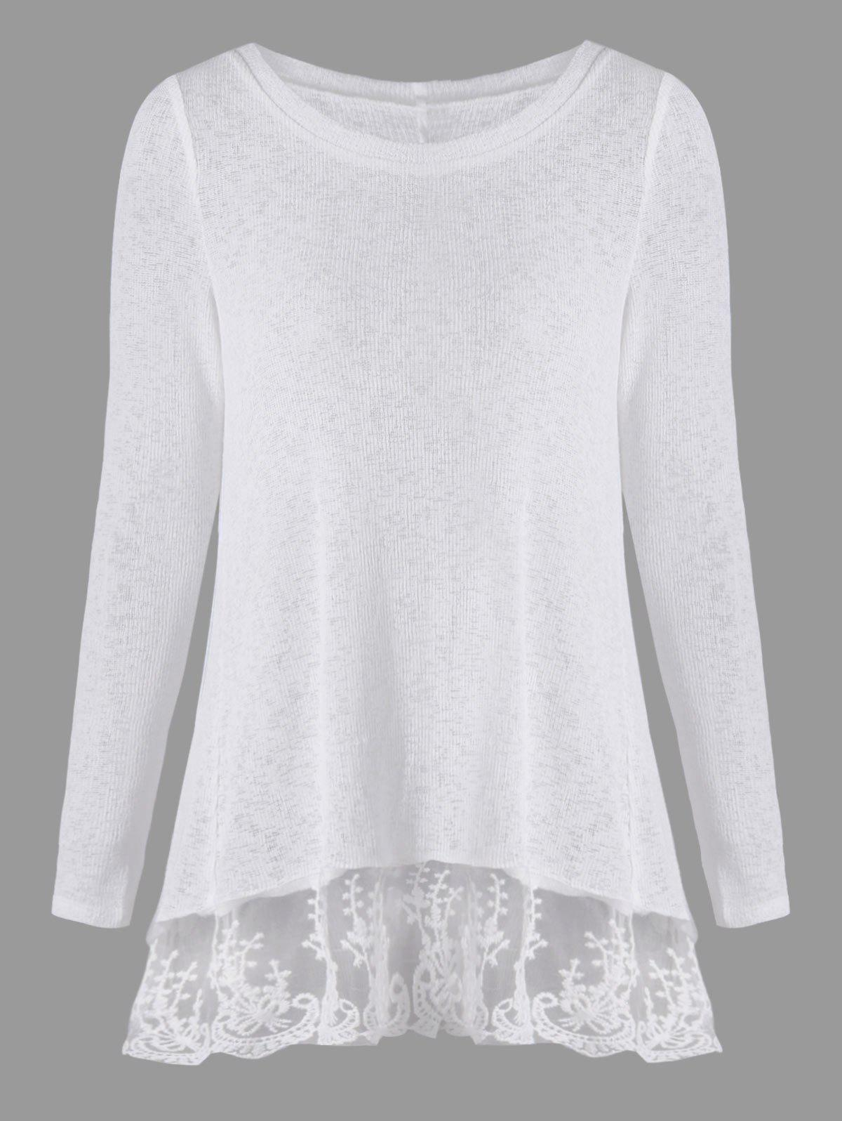Back Bowknot Lace Panel Long Sleeve Knit Top - WHITE M