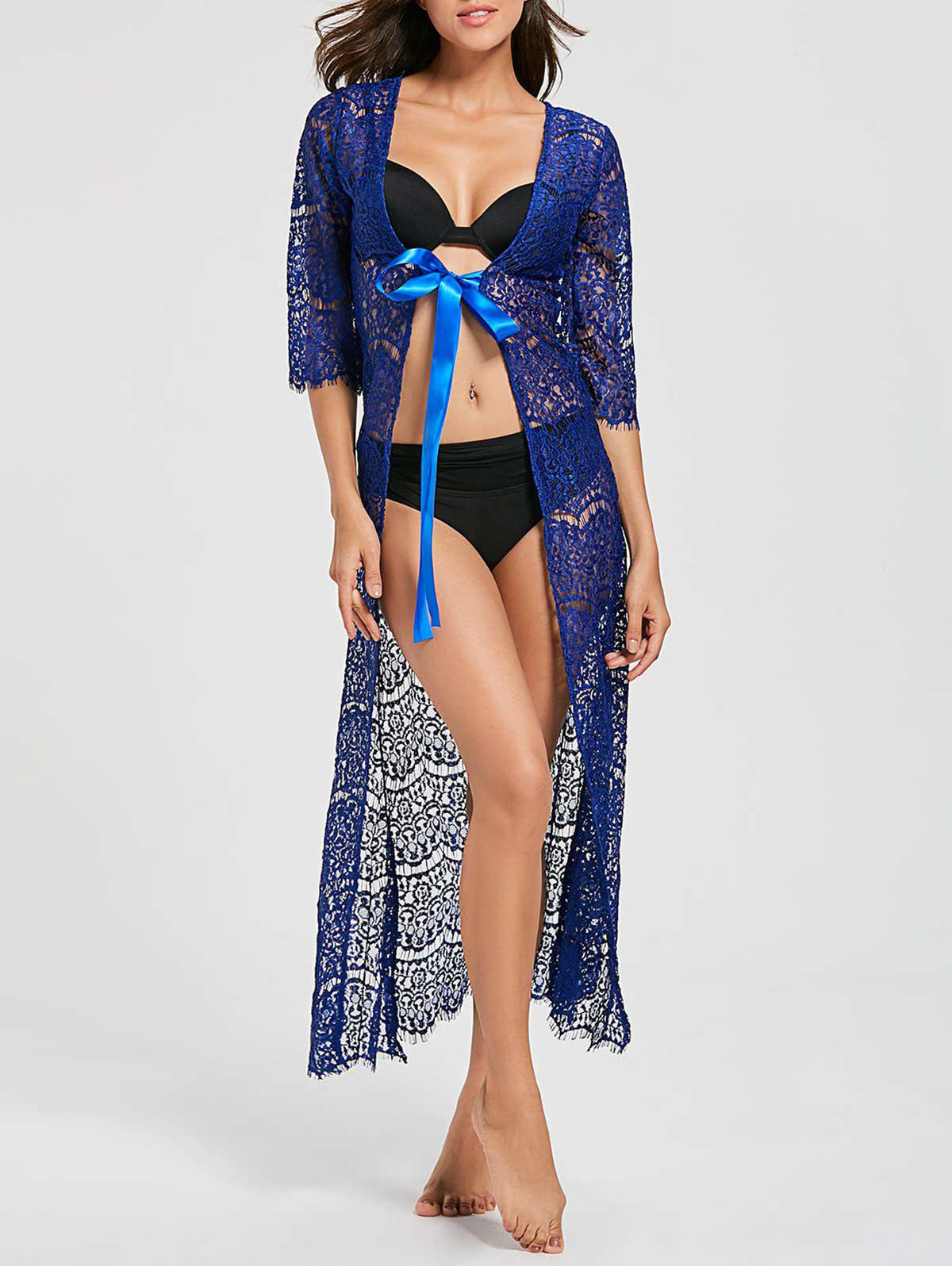 Tied Maxi Lace Cover Up Kimono - BLUE ONE SIZE