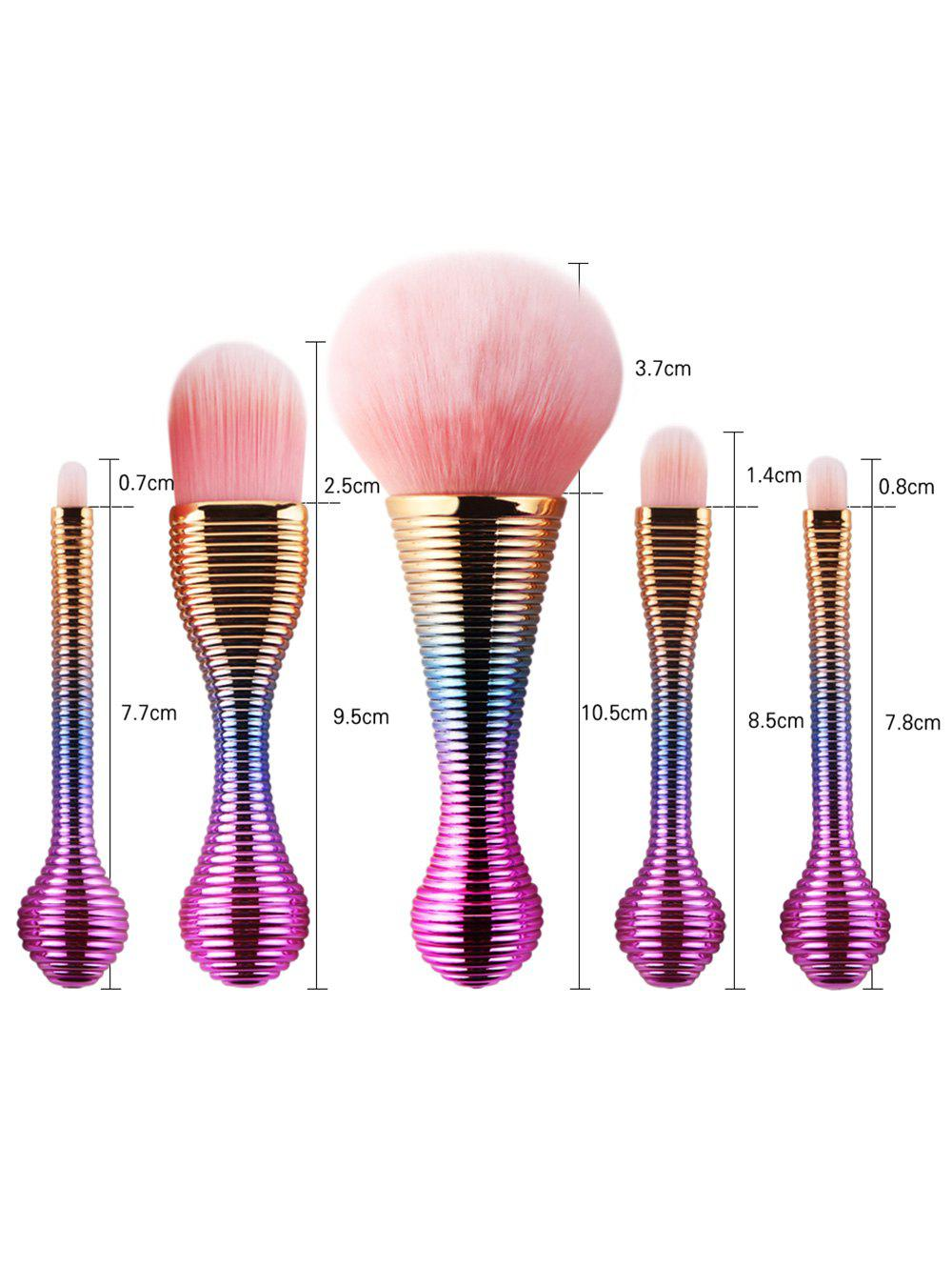 5Pcs Gradient Color Lollipop Facial Makeup Brushes Kit - multicolor Couleur