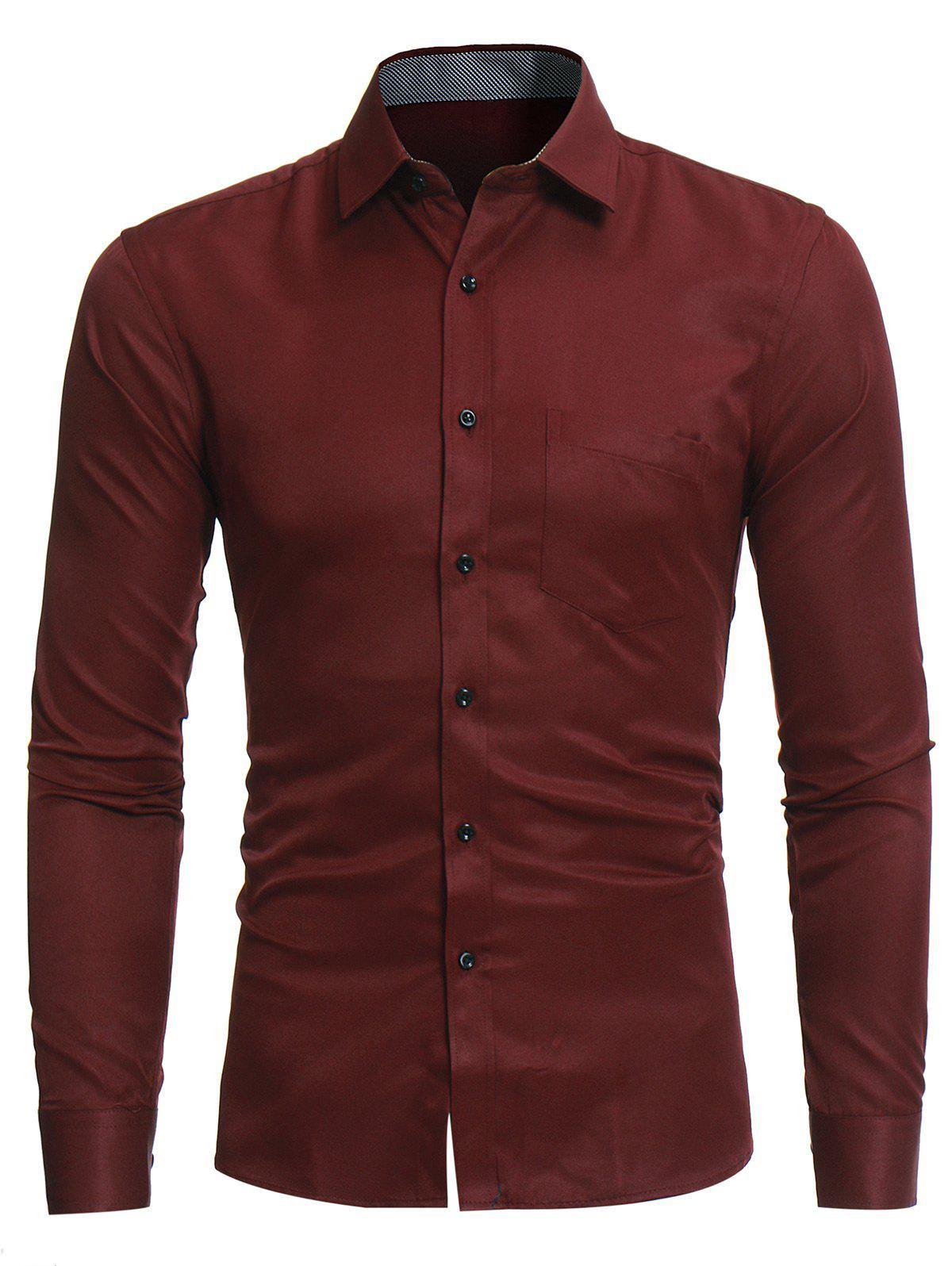 Turndown Collar Pocket Long Sleeve Shirt - WINE RED 3XL