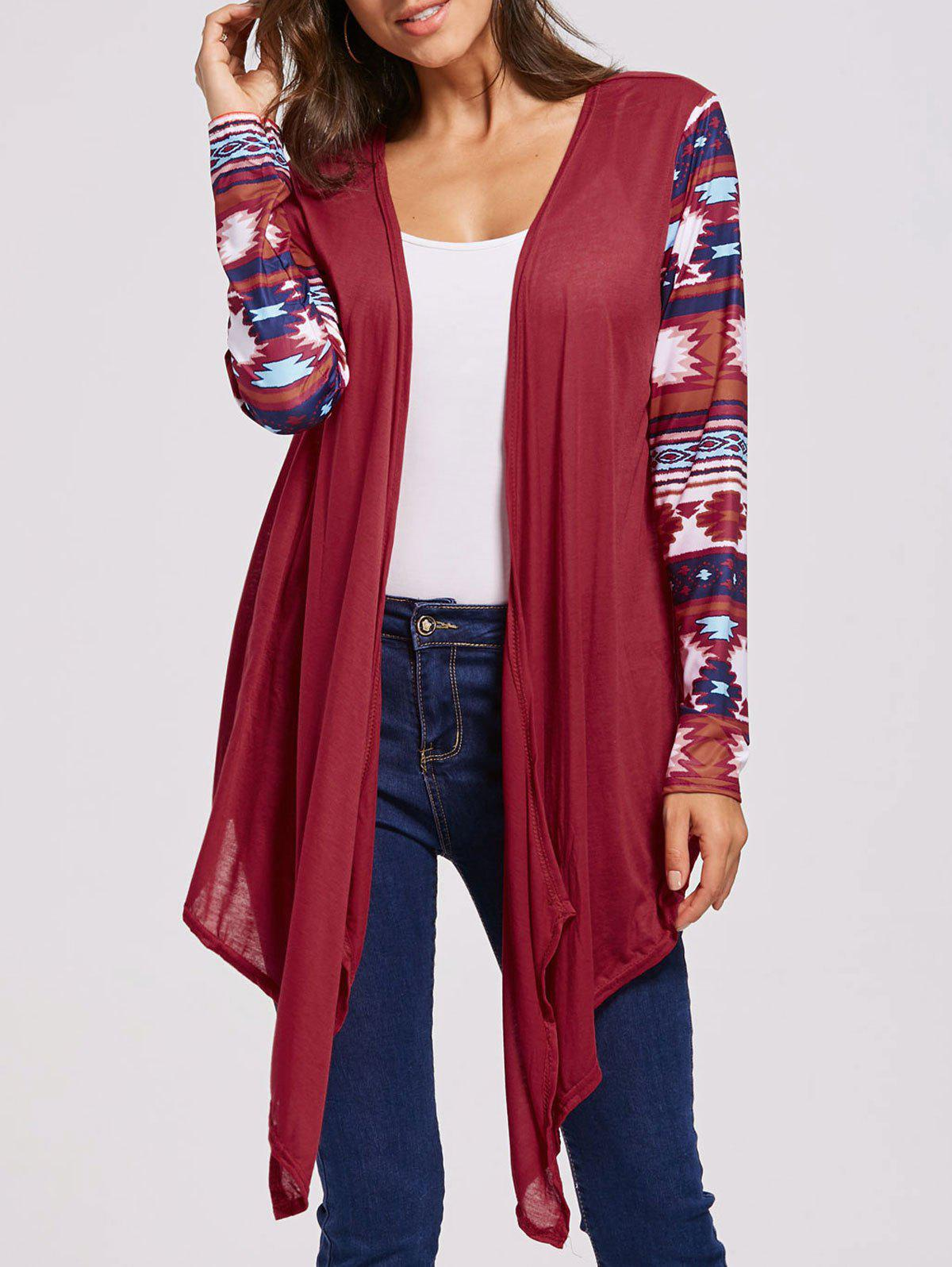 Open Front Collarless Graphic Cardigan - RED XL