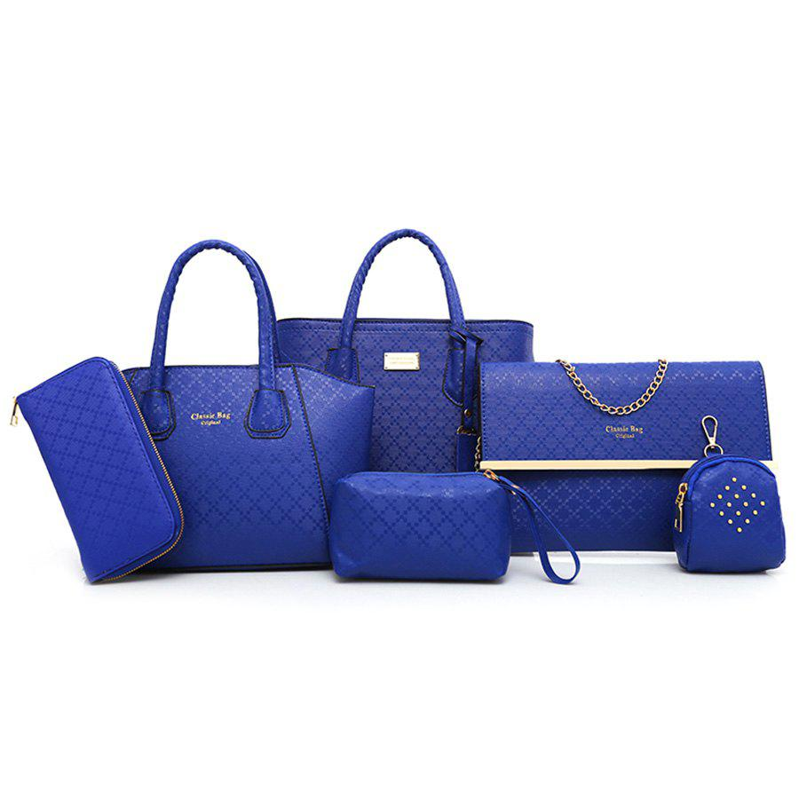 6 Pieces Argyle Pattern Handbag Set - BLUE