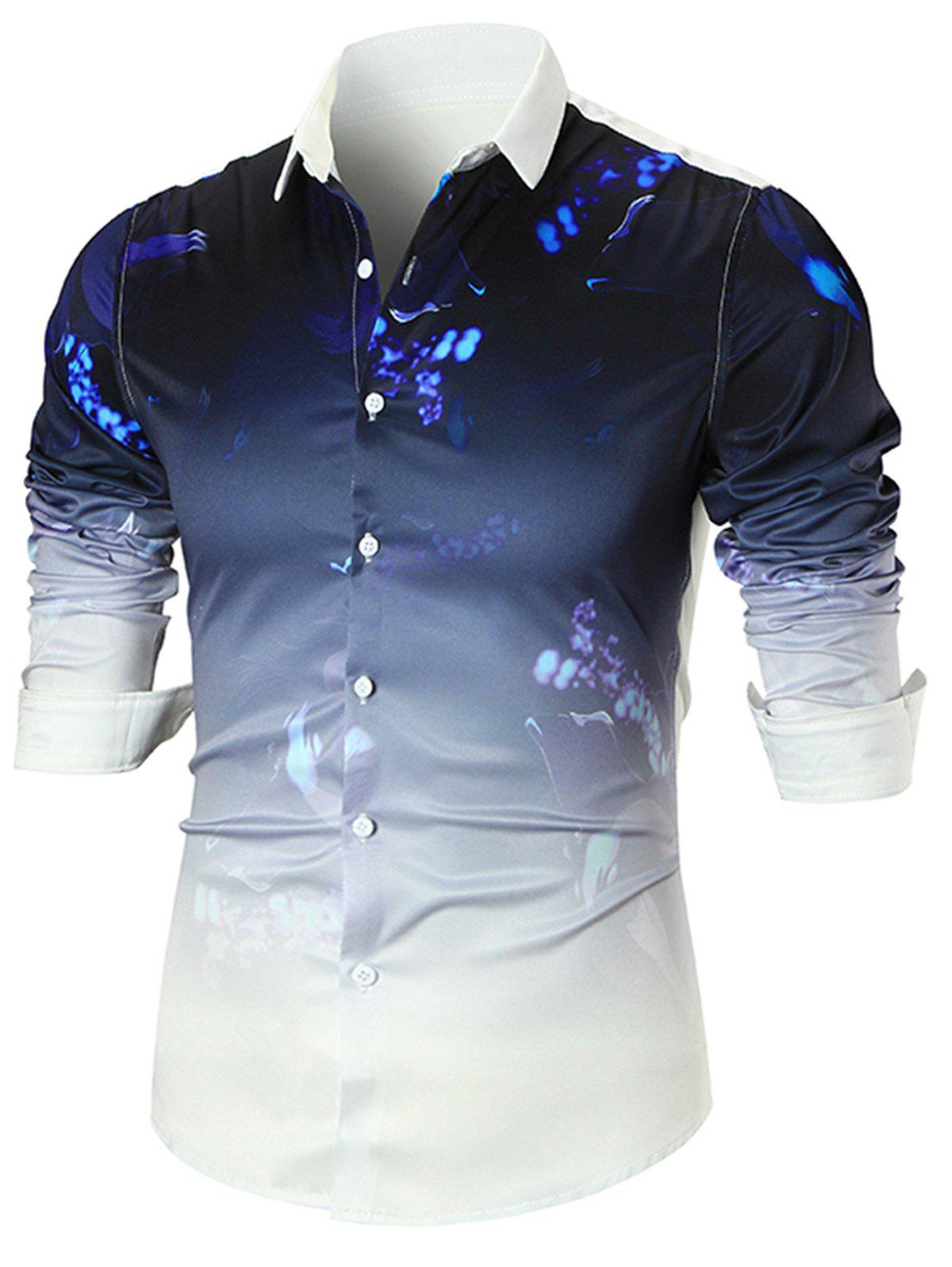 Paint Splatter Dip-dye Long Sleeve Shirt - WHITE XL