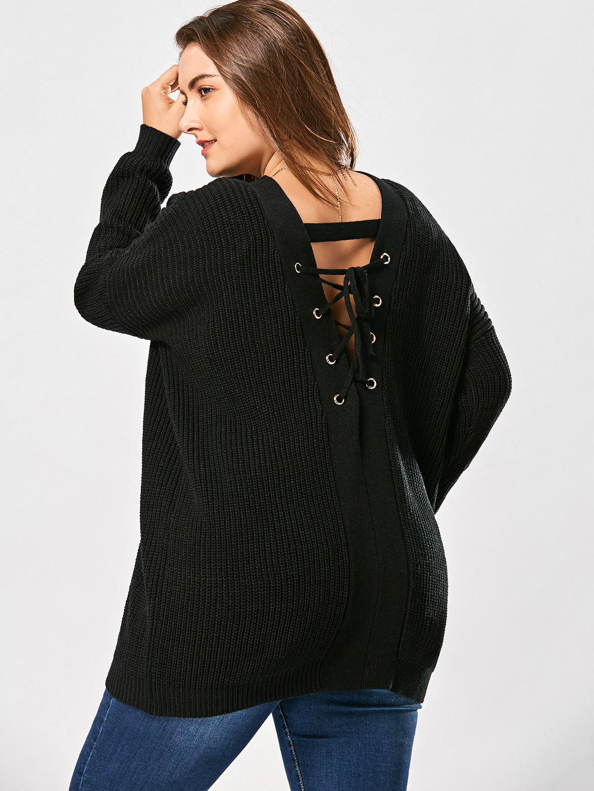 V Neck Back Lace Up Plus Size Sweater - BLACK 3XL