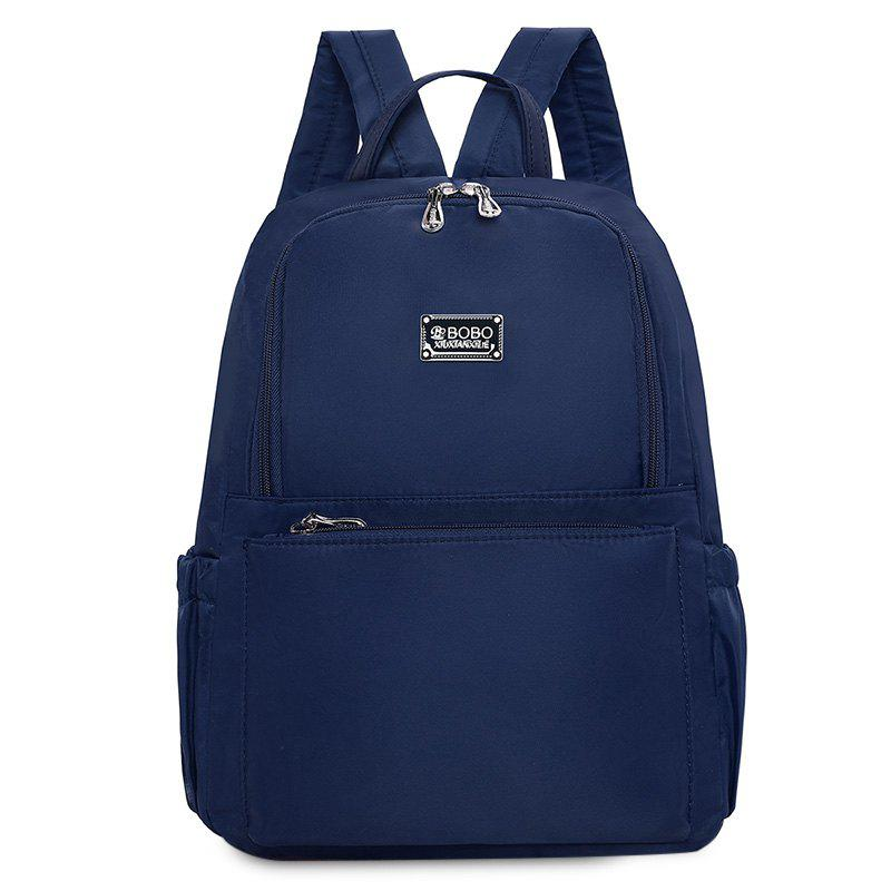 Double Pocket Zippers Nylon Backpack - CADETBLUE