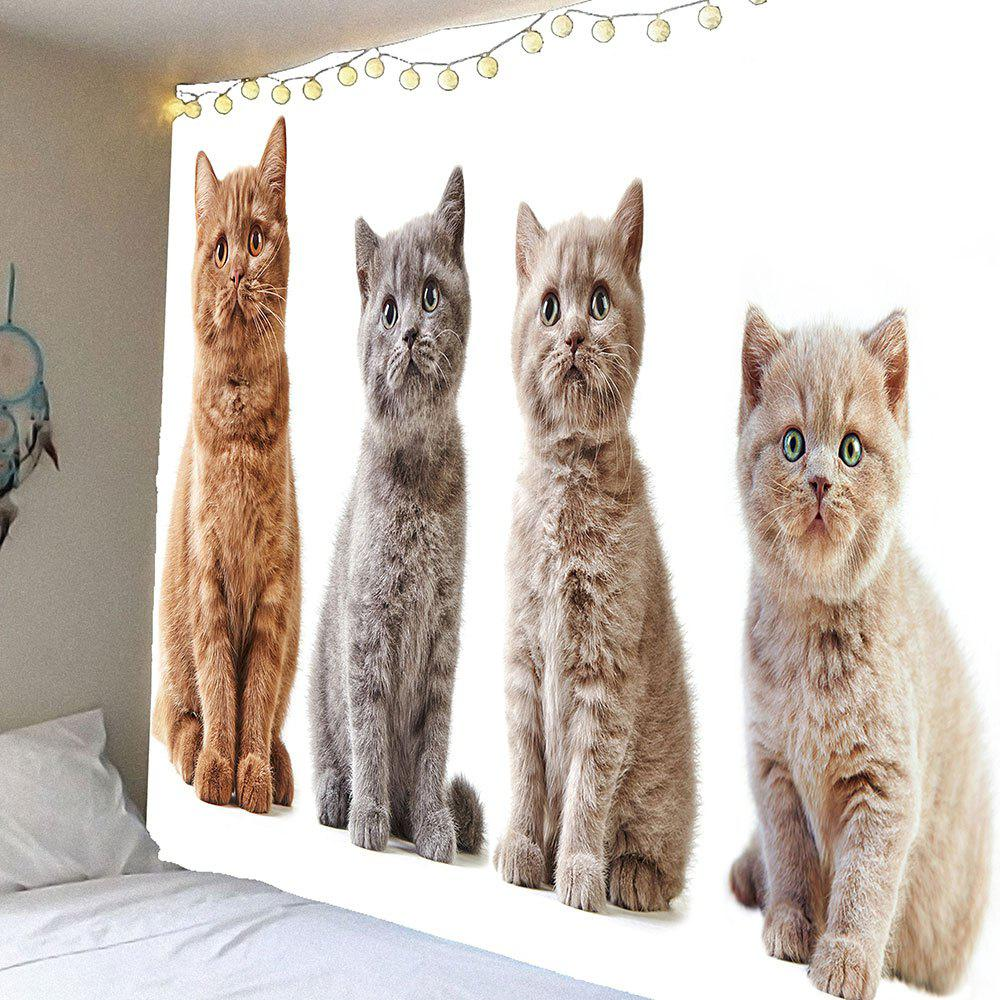 Waterproof Curious Cats Printed Hanging Wall Tapestry - GRAY W79 INCH * L71 INCH