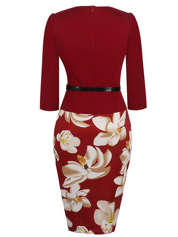 Floral Knee Length Pencil Fitted Work Dress - WINE RED XL