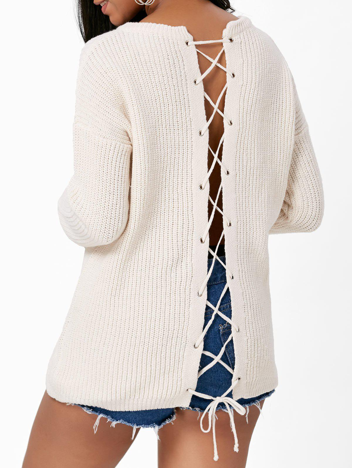 Back Lace Up Drop Shoulder Sweater - OFF WHITE ONE SIZE