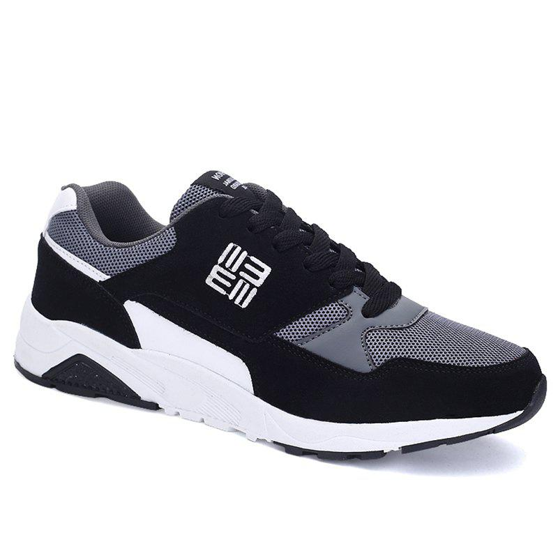 Mesh Panels Color Block Sneakers - BLACK 43