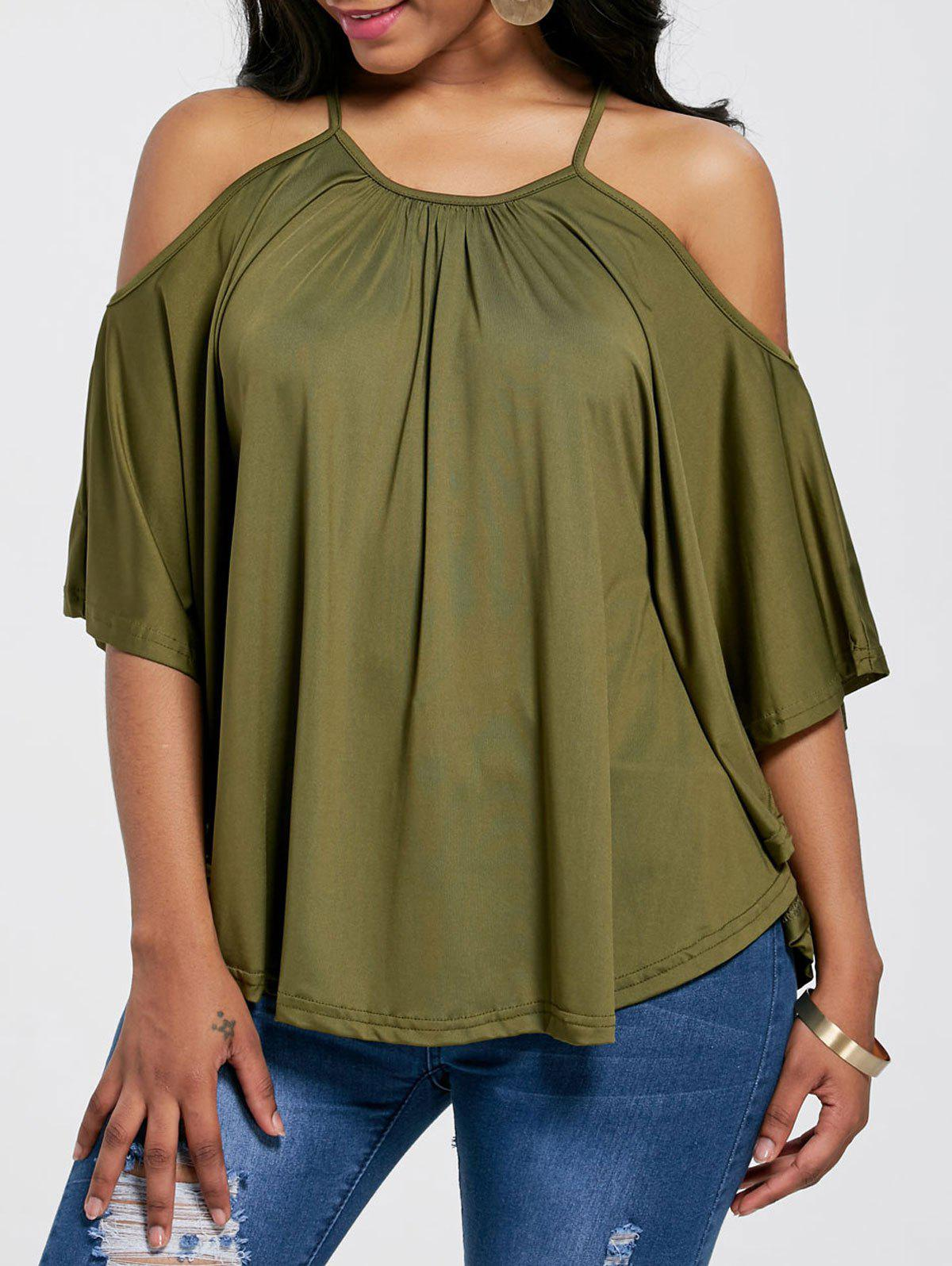 Open Shoulder Blouse - GREEN S