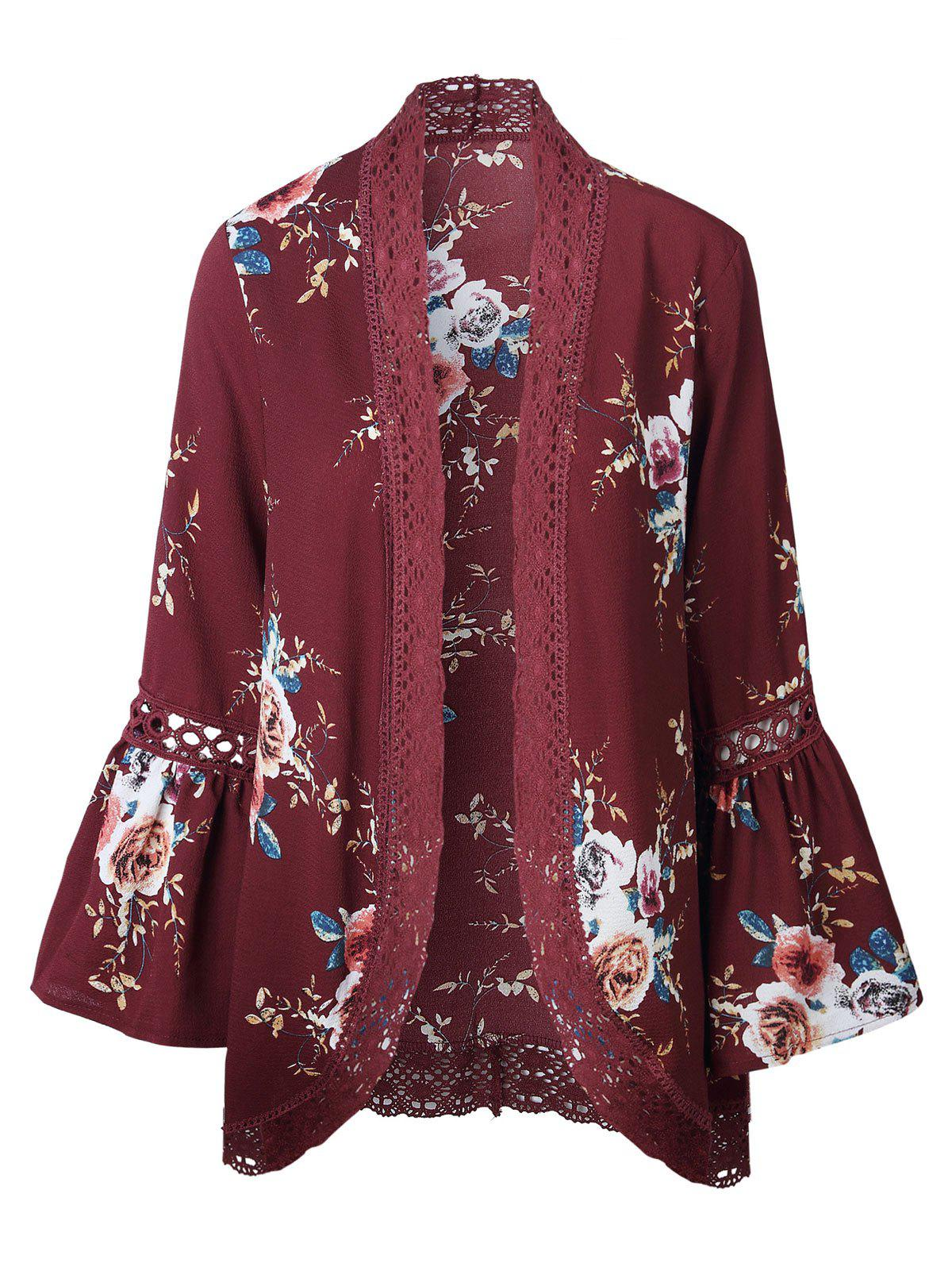 Lace Panel Flare Sleeve Kimono - RED XL
